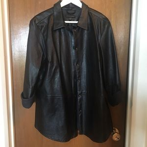 Banana Republic Faux Leather Button Up